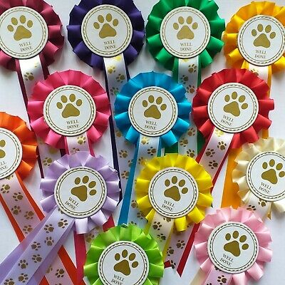 £7.45 • Buy Dog Show Rosettes Well Done X 10  FREE Printed Paw Print Tails FREE POSTAGE