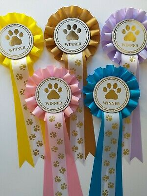 £4.99 • Buy Dog Show Rosettes Winner X 5  FREE Printed Paw Print Tails FREE POSTAGE