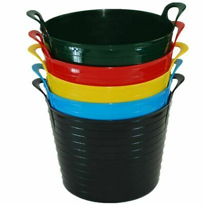 3 X 42 Litre Large Colour Flexi Tub Garden Home Flexible Rubber Storage Bucket • 14.99£