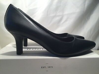 Rockport Shasmeen Womens Closed Toe Court Black Leather Shoes UK 7 Rrp £99 • 48£