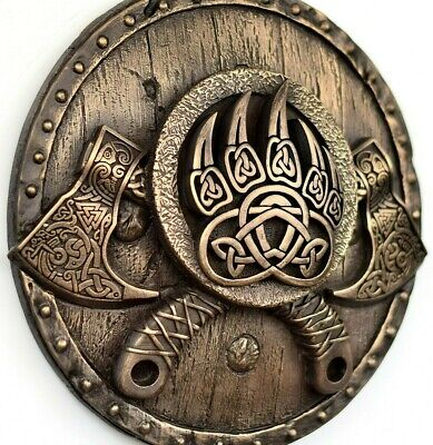 Viking Bearded Axes On The Shield Bronze Wall Sculpture Home Rustic Decor Gift • 55£
