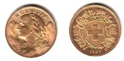 $374.99 • Buy Swiss 1927 Lustrous Bu---a Pre Ww-two Date Scarce Near Melt Gold  20 Franc  Coin