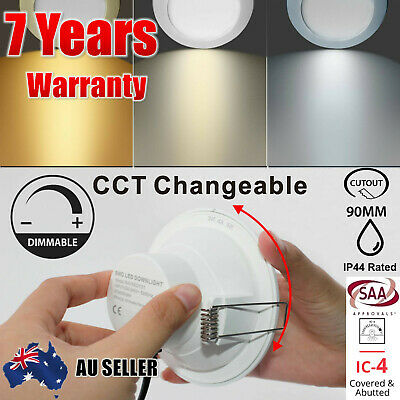 AU7.59 • Buy CCT LED Downlight Dimmable CCT Colour Changing 90mm CUT Warm Cool White IP44