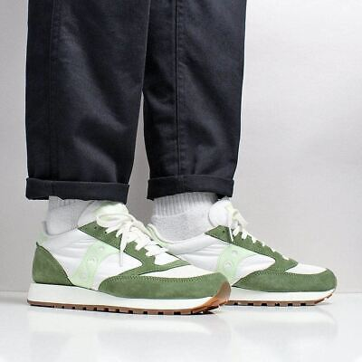 Saucony Men's New Jazz Original Vintage Suede NylonShoes Green White • 74.95£