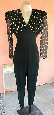 AU114.82 • Buy 80s Black Ribbed Spandex Jumpsuit W/ Polka Dots Bodice And Slvs