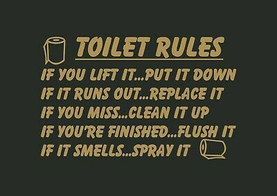 Toilet Rules With Rolls Bathroom Inspired Design Wall Art Decal Vinyl Sticker • 4.98£