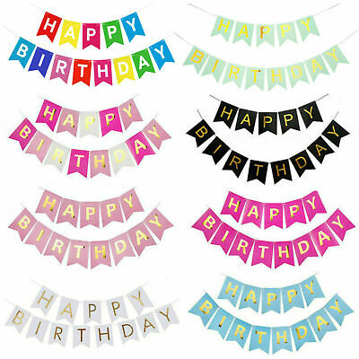 Multicoloured Happy Birthday/Retirement/Wedding/Christmas Bunting Banners Decor • 3.19£