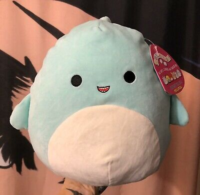 "$ CDN26.45 • Buy NWT Squishmallows Kellytoy Valentines Sharon Light Blue Shark 11"" Plush Pillow"