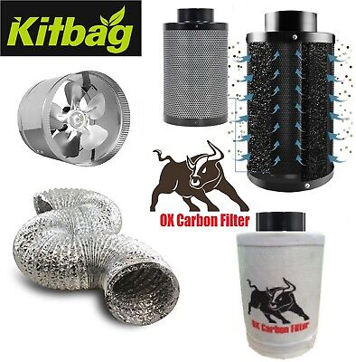Carbon Filter Kit Extraction Fan Aluminium Ducting Hydroponics 4  Or 6  Booster • 49.99£