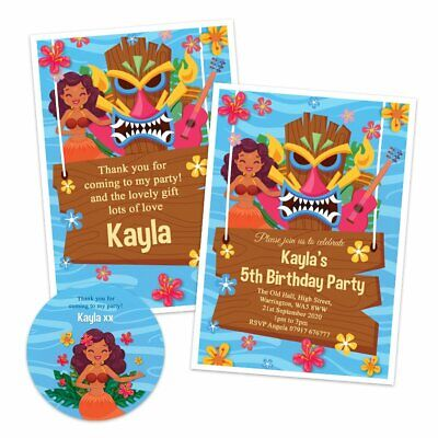 £3.99 • Buy Personalised Luau Party Kids Birthday Party Invitations Thank You Note Sticker