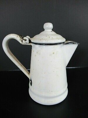 $17.99 • Buy Vintage Enamel White Teapot Distressed Farmhouse Decor Small