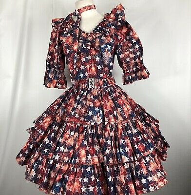 $75 • Buy Square Dance Dress Outfit Skirt Blouse Belt Tie Patriotic Print Stars Fireworks