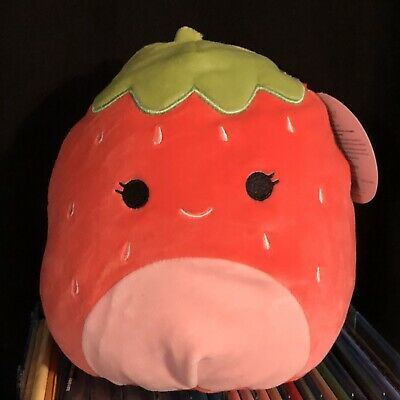 "$ CDN19.20 • Buy NWT Squishmallows Kellytoy 8"" Strawberry Red Green Plush Doll Spring Squad"