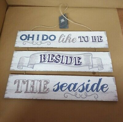 Beside The Seaside Plaque Sign Nautical Wooden Beach Rustic  • 12£
