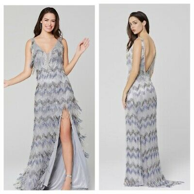 £358.75 • Buy Nwt Primavera Couture 3462 Platinum Heavy Emblished Gatsby Frindge Gown Pagent
