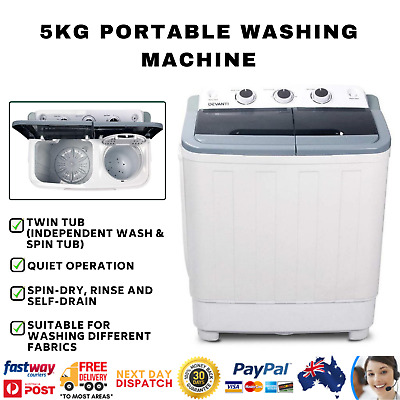 AU178.15 • Buy 5KG Mini Portable Twin Washing Machine Laundry Spin Wash Washer Dryer Combo