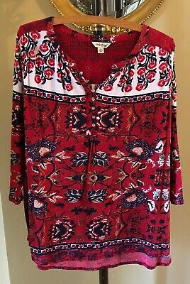 $15.95 • Buy LUCKY BRAND Red Knit Henley Mixed Print Boho 3/4 Sleeve Cotton/Linen Top Plus 1X
