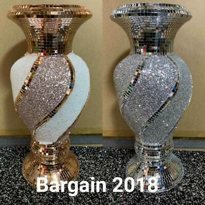 CRUSHED DIAMOND SILVER/GOLD MIRRORED SPARKLE VASE BLINK HOME DECORATION 40cm.. • 34.99£
