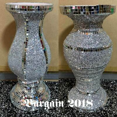 CRUSHED DIAMOND SILVER MIRRORED SPARKLE VASE BLINK HOME DECORATION 30cm • 26.99£