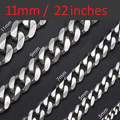 *UK* Stainless Steel Mens 11mm Thick Curb Silver Chain 22 Inch Necklace Gift • 11.49£