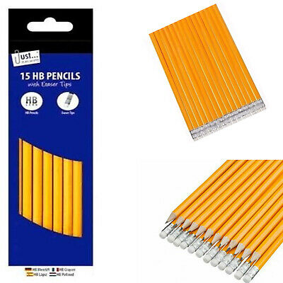 15* HB Pencils With Rubber Eraser Tip Pencil School Exam Stationary Multi Pack   • 2.15£