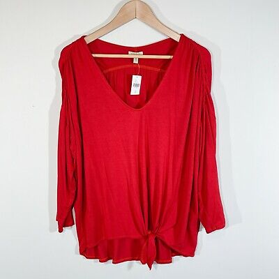 $ CDN33.94 • Buy NWT | Bordeaux For Anthropologie | Large | Hadley Tie Front V-Neck Top In Red