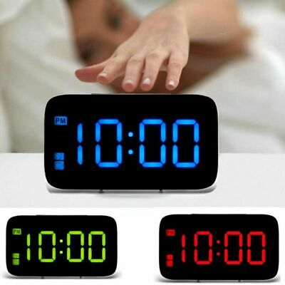 AU12.99 • Buy LED Digital Alarm Clock Snooze Large LCD Display Battery Powered Voice Control