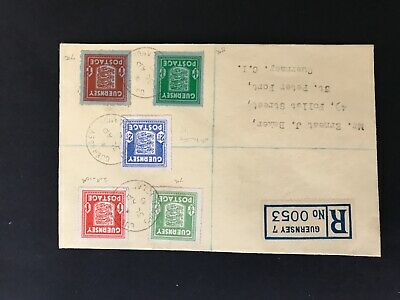 Guernsey 1945 Registered Stamp Cover Good Condition. • 2.20£