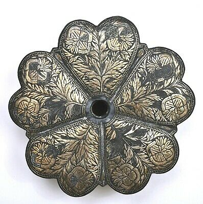 $500 • Buy 1900's India Indo Anglo Persian Mughal Iron Silver Inlay Leaf Shaped Box