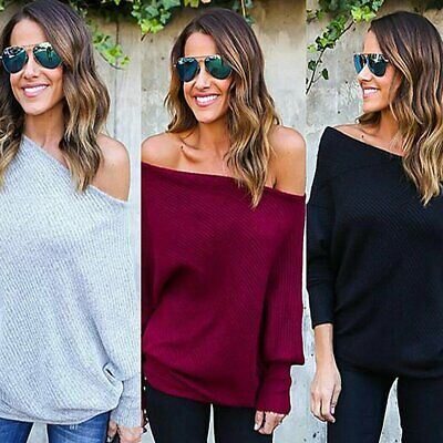AU15.19 • Buy AU STOCK Womens Lady Fashion Off Shoulder Knitted Sweater Tops Jumper Pullover
