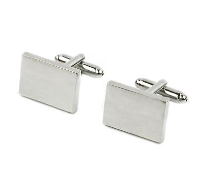 £7.99 • Buy Personalised Cuff-links Silver Rectangular Engraved Wedding Valentine's Day