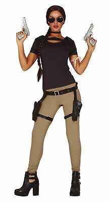 Womens Adventurer Lara Croft Tomb Raider Hero Fancy Dress Costume • 19.99£