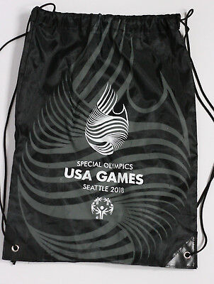 Special Olympics Collectible Seattle 2018 Cinch Bag Backpack Black Grey White • 4.60£