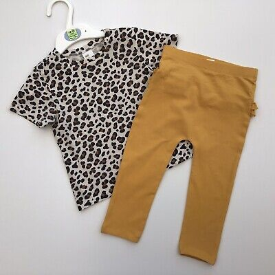 Baby Girl Clothes 12-18 Months H&M Animal Print Top George Mustard Leggings • 3£