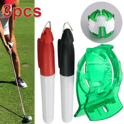 2 Pens Golf Ball Marker  Finger Putting Tool Line Drawing Sign With Free Ten • 3.09£