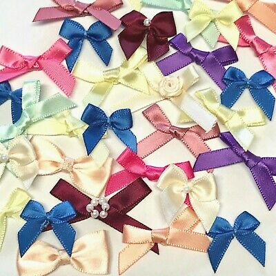 30 Ribbon Bows Flowers Rose Craft Cardmaking Embellishments Small Satin Sewing  • 3.99£