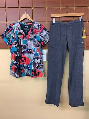 $10 • Buy NEW Gray Print Scrubs Set With Barco One Small Top & Carhartt Small Pants NWT!
