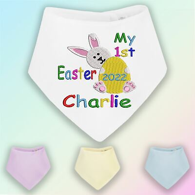 Personalised My 1st Easter Embroidered Baby Bandana Dribble Bib Gift Bunny • 6.25£