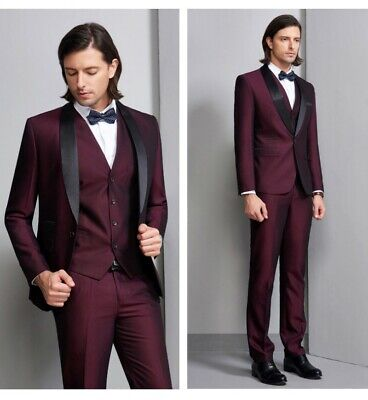 $ CDN179.51 • Buy Men's Formal Dress Suit 3PCS Wedding Groom Business Blazer Tuxedo Slim Fit Prom