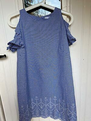 M&S Girls Checked Embroidered Dress Age 12-13 • 3.50£