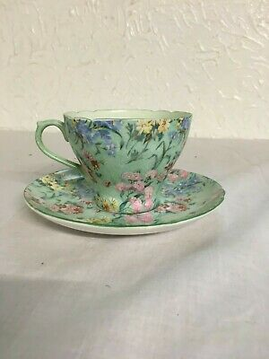 Shelley Tea Cup And Saucer, Melody, Green, Floral, Bone China, England, Flowers, • 35£