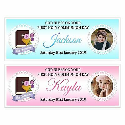 First Holy Communion Day Photo Name Banner Wall Decorations Girl & Boy • 4.99£