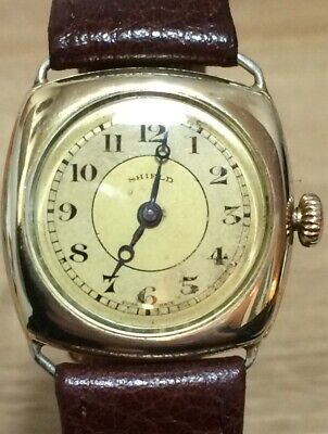 GENTS C1920s  Shield  Watch Co  Trench / Cushion Watch 15 Jewels SUPERB • 150£