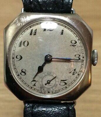 GENTS C1920s Trench / Cushion Style Watch Unusual Hexagonal Case RARE Fwo • 85£