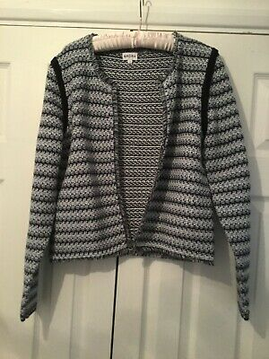 Brora Kintted Jacket Size 14 Black And White Cotton New • 22£