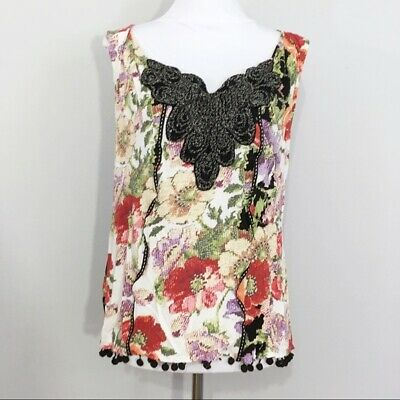 $ CDN1.31 • Buy Anthropologie Meadow Rue Floral Print Multicolored Soft Sleeveless Top XS