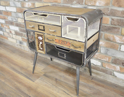 Industrial Side Cabinet Vintage Storage Sideboard Rustic Metal Chest Drawer Unit • 158.88£