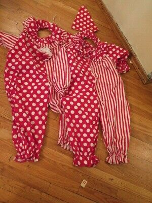 $ CDN26.43 • Buy Lot Of Two Red White Clown Costumes Size 6 And 3 Ruffle Collar Pom Pom