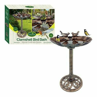 GardenKraft Plastic Bronze Metal Effect Clam Shell Design Bird Bath With Stones • 49.95£