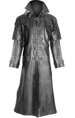 Men's Steampunk Gothic Leather Trench Coat Jacket Hugh Jackman Van Helsing Coat • 139.98£